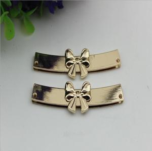 Buy cheap OEM zinc alloy light gold bow-knot shape purse decorative metal corner 65 mm product