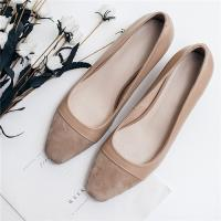Quality Cow Suede Office Ladies Shoes , Cap Toe Womens Low Heel Pumps Apricot Color for sale