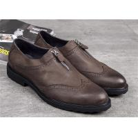 Buy cheap Elegant Classic Dress Shoes Dark Brown Wingtip Brogues With Zipper product