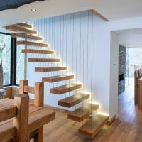 Buy cheap Modern Decorative Floating Wood Stairs with Invisible Stringer Stainless Vertical Rod Railing product
