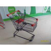 China 75L Retail Shopping Cart With Blue Color Powder Coating And Red Plastic Parts SGS TUVS wholesale