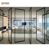 Buy cheap Black Aluminum Pivot Door Modern Main Entrance With Frosted Glass product