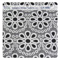 Buy cheap White Embroidered  Lace Fabric , Polyester repeated Floral Bud Silk Fabrics Garment product