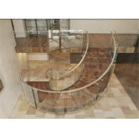 Buy cheap Modern design interior wood stairs glass railing curved stairs product