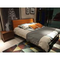 Buy cheap 2017 New design of  Leather Upholstered headboard Bed by Walnut wood frame for Young Apartment  bedroom furniture use product