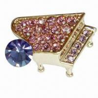 Buy cheap Fashionable Brooch, Various Shapes are Available, Lead, Nickel and Cadmium Free product