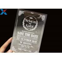 China Laser Cut Acrylic Wedding Invitation Cards / Mirror Clear Invitation Card on sale