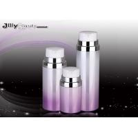 Buy cheap Pump Head Cosmetic Plastic Bottles Purple And Red Silver Edge / Lotion Pump Bottles product