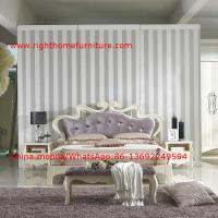Buy cheap Flowers Headboard Wooden Bed in Neoclassical fabric design for luxury multiple star B& B Room Furniture product