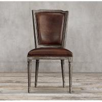 China  Top grain dark brown leather dining chairs/ leather studded dining chairs  for sale