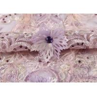 Wedding Beige Purple Pink Colorful Mesh Lace Fabric Ostrich Feather Sequin 3d