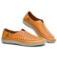 Buy cheap Breathable Punched Holes Mens Casual Summer Shoes , Khaki Leather Business Shoes product