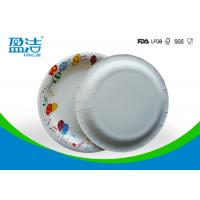 China 9 Inch Colored Disposable Paper Plates With Shiny Oil Coated Surface for sale