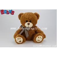 Buy cheap Hot Sale Stuffed Bear Soft Toy With Embroidery Paw and Check design bowknot product