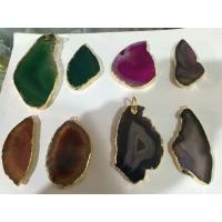 Buy cheap Drusy Gemstone Pendant With Amethyst Heart , Hole Raw Agate Stone Point Necklace product