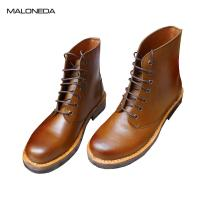 Buy cheap MALONEDE Handmade Retro Round Toe Men's Lace up Ankle Short Boots Genuine Leather Sole Bespoke With Goodyear welted product