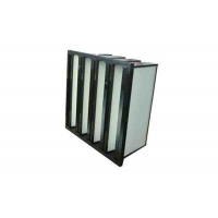 Buy cheap Plastic Frame Dust Holding V Bank Air Filters With Fiberglass Medium Material product