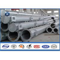 Q345 steel utility poles 50 years Life Time , steel light pole with Base Plate/ Anchor Bolts / Climbing Rungs