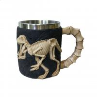 Quality 400ml animal polyresin double side stainless steel mug for sale