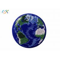 China Blue Earth World Planet Embroidered Badge Patch Iron On Custom Sew On Patches on sale