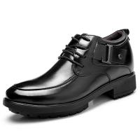 Black Oxfords Leather Shoes Men's Elevator Height Increased Shoes Taller 3.15