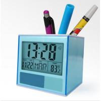 China Home Decor Desk Digital Clock Pen Stand Holder with Penholder Date Temperature for Classroom, Hotel on sale
