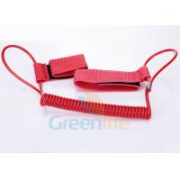 Buy cheap 1.5M Long Quality Red Plastic Spring Coil Fishing Lanyard With Velcro Strap 2pcs product