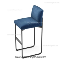 China Floor Mounted Fixed Down European Navy Blue Upholstered Bar Stools on sale