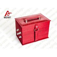 Buy cheap Personalized Red Cosmetic Paper Box Drawer Style With Crocodile Leather / Black NWPP product