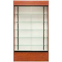China Tall Retail Wall Display Shelves Glass Fronted Wall Mounted Display Cabinet With LED Light on sale