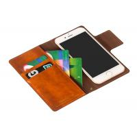 Buy cheap Handmade Brown Leather Flip Wallet Case / Iphone 8 Plus Leather Case Custom product