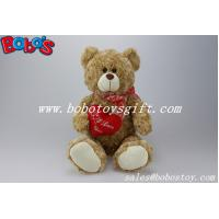 """Buy cheap 12""""Light Brown wholesale lovely teddy bear with red ribbon and heart pillow product"""