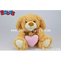 Buy cheap Brown Dog Stuffed Animal Toy With Pink Heart Pillow product