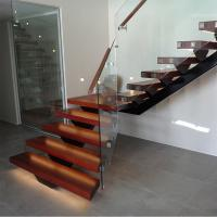 Buy cheap Hot Sale Modern Internal Staircase Walnut Stair Treads Staircase with Glass Railing product