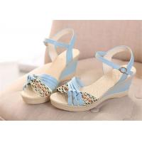 Buy cheap Colorful PU Straps Upper Women'S Wedge Sandals , Beautiful Ankle Strap Wedge Sandals product