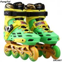 Buy cheap Street Slalon Inline Skate Shoes 4 Wheels Roller Patins Shoe Men Women Blade Skating Shoes Green Yellow Color  (DA1007) product