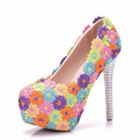 2018 Custom Fashion The Same Style Lace Colorful Flowers Sexy High Heels Shoes and Bag for Evening party