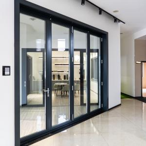Buy cheap Two Way 6063 Aluminum Folding Door With Digital Handle Black Color Frame product