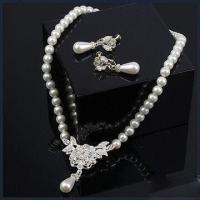 Buy cheap Charm Pearl Necklace with Earrings, Made of Zinc Alloy, Nice Workmanship product