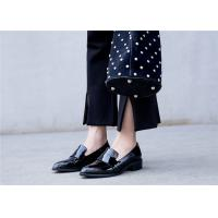 Quality England Style Womens Black Patent Leather Shoes , Comfortable Slip On Shoes for sale