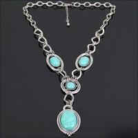 Buy cheap Turquoise Stone Necklace in Elegant Design, with Alloy Chain, Customized Printed Logos are Welcome product