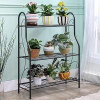 H257 Flower Pot Metal Display Shelf Sturdy Metal Construction Black Paint Plated