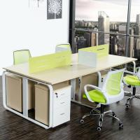 Buy cheap Wood Grain Melamine Particle Board Office Furniture For Four Person Working Office Table product