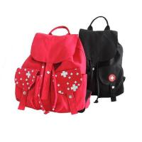 Buy cheap Red And Black Custom Logo Backpacks , Canvas Drawstring BagsWith Pull String product