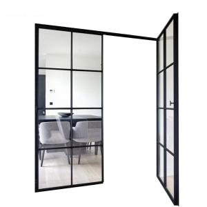 Buy cheap Aluminium Casement Doors Double Hollow Glass Grill With Retro Gold Handle product
