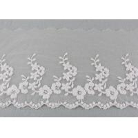 China Ivory Cotton Lace Trim With Floral Lace Design Nylon Net For Bridal Dress Ribbon on sale