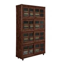 China Vintage Style Home Office Bookcase , Tall Slim Bookcase With Glass Doors on sale
