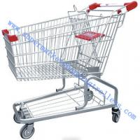 China Tesco Germanic Style Grocery Store Shopping Cart , Zinc Powder with Safety Belt on sale