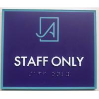 Buy cheap Straight Edge Braille Room Signs PMS 2695 Background PMS 2226 Frame And Logo product