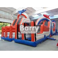 China Adults Giant Inflatable Blow Up Obstacle Course Games 30 X 8 X 7m 0.9mm PVC wholesale